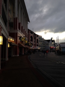Disney's Boardwalk on an overcast evening