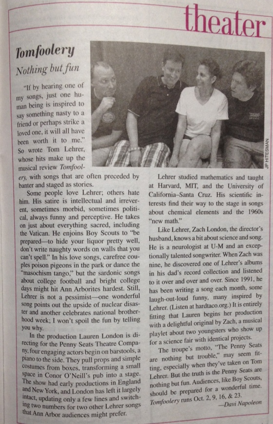 Davi Napoleon Article on Tomfoolery from Ann Arbor Observer