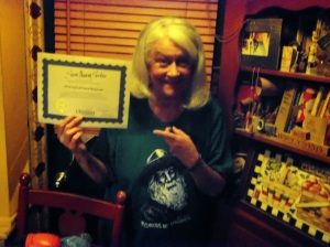 susie with certificate