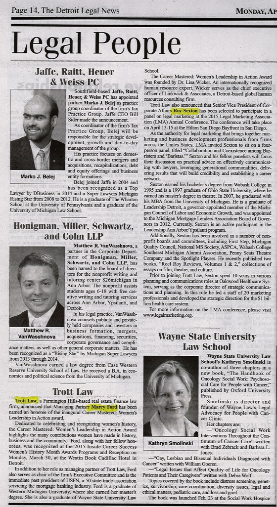 Marcy Ford and Roy Sexton April 2015 Detroit Legal News