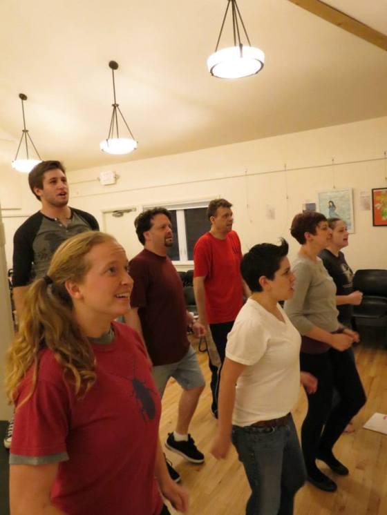 Ensemble - Paige Martin, Brendan Kelly, Jeff Stringer, John DeMerell, Cathy McDonald, Jenna Pittman, Christina McKim - Photo by Gabby Rundall