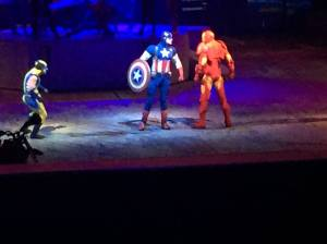 Captain American arguing with Iron Man about who has the worst lines