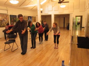 "The cast rehearse ""Marathon"" with Paige Martin"
